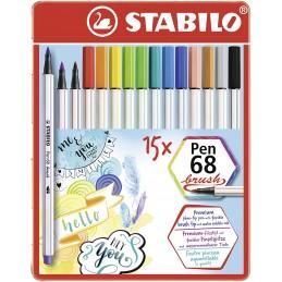 scatola-metallo-15-pennarelli-pen-68-brush-stabilo