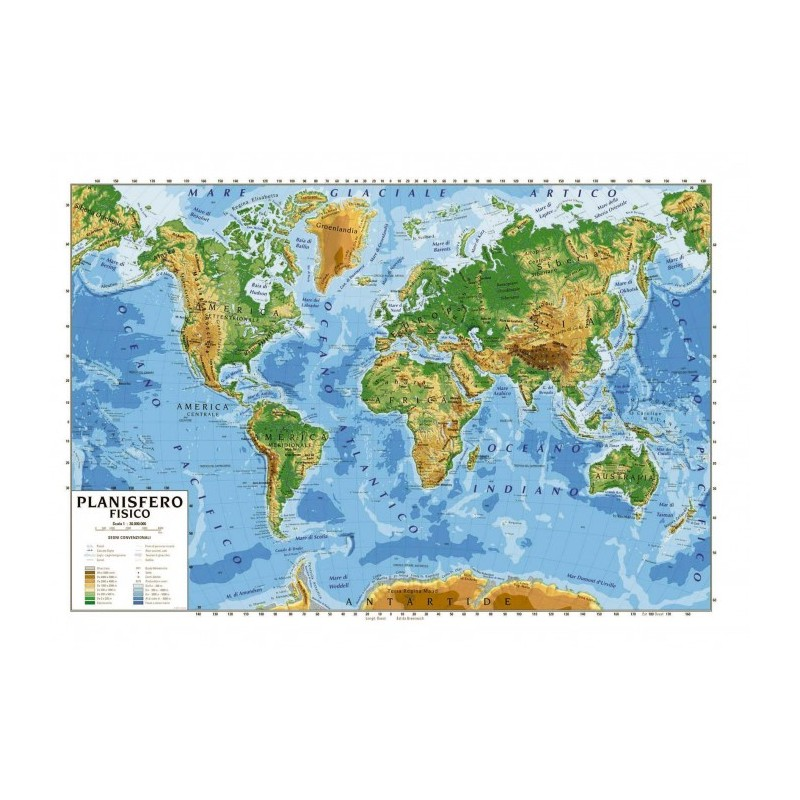 Mappamondo Cartina Geografica.Carta Geografica Bifacciale Planisfero Cm 100x140
