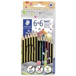 set-staedtler-noris-con-6-matite-in-grafite-e-6-pastelli